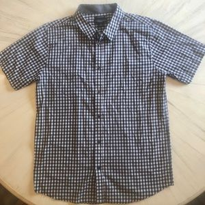 Men's navy and white checked casual button up